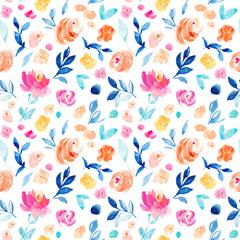 Seamless Watercolor Floral Wallpaper Background Pattern. Girly Wallpaper Floral Pattern