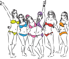 girls at the beach having fun illustration