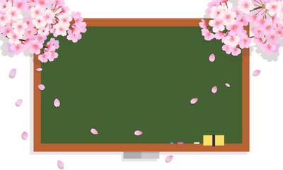 桜の木の枝と黒板のフレーム