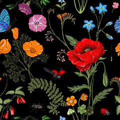 Fotobehang Botanisch Summer vector seamless pattern. Botanical wallpaper. Plants, insects, flowers in vintage style. Butterflies, beetles and plants in the style of Provence. Drawn nature wallpaper. Summer background