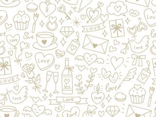 Seamless pattern of Valentine's elements