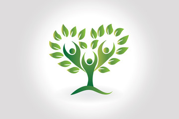 Logo people love heart tree of life ecology icon symbol vector design