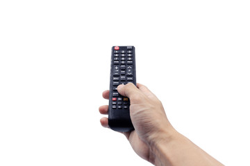 Fototapeta Hand holding remote controller, isolated on white background with clipping path obraz