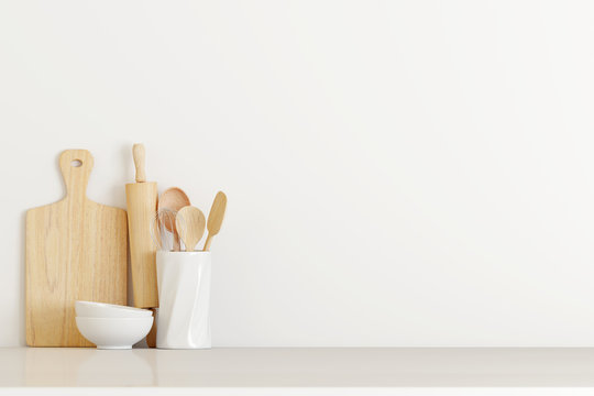 kitchen utensils on white table. 3d rendering