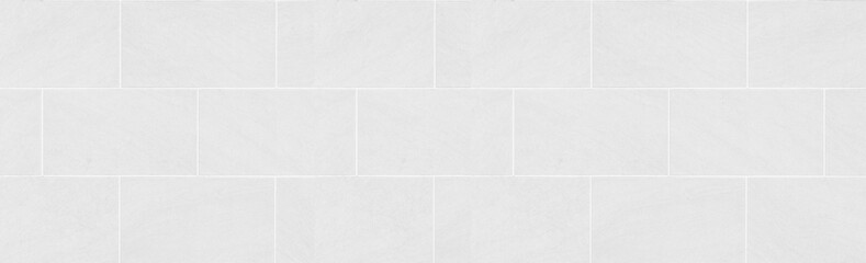 Panorama of white tile wall pattern and seamless background