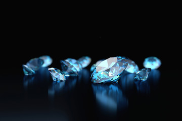 Blue diamonds placed on black background, 3D illustration.
