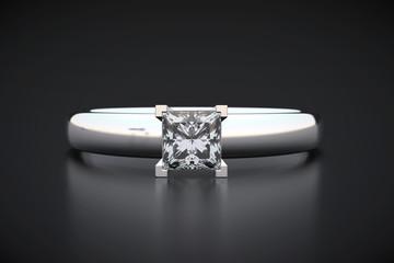 Princess cut shape Diamond ring, 3d rendering.