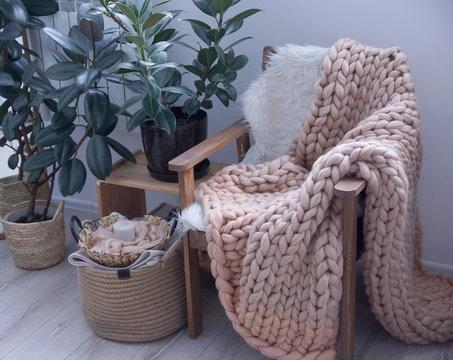 Cozy Hugge rug in the interior, Scandinavian style, Merino wool handmade