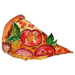 Fast food itallian pizza in a watercolor style isolated. Aquarelle food illustration for background.