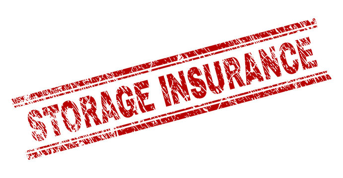 STORAGE INSURANCE seal print with grunge effect. Red vector rubber print of STORAGE INSURANCE caption with retro texture. Text caption is placed between double parallel lines.