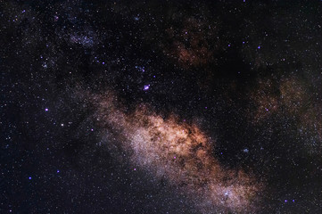 Center of Milky way galaxy with stars and space dust in the universe In the sky of Thailand, Long exposure photograph, with grain noise.