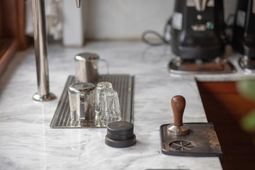 Accessories and items for coffee. School barista. Equipment for cafe