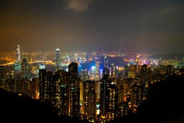 Causeway Bay, Hong Kong - 23 November 2018: Hong Kong skyline at night view from Victoria peak.