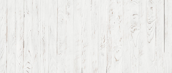 Wall Mural - white wood texture background, top view wooden plank panel