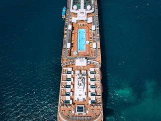 Large Cruise ship sailing across The Andaman sea - Aerial image. Beautiful  sea landscape