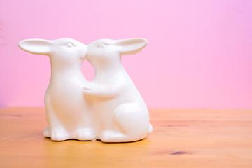 two bunnys kissing