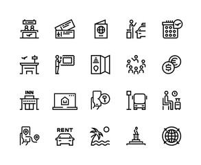 Tourism line icons. Travel holiday resort airplane vacation ticket tourism agency bus car rent transport. Hotel tourism vector set