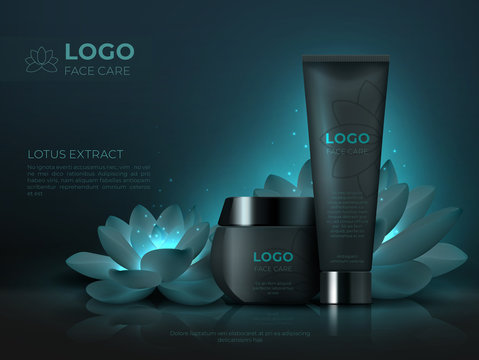 Black cosmetic product background. Luxury beauty skincare cream realistic 3D makeup tube. Vector cosmetic promotion template