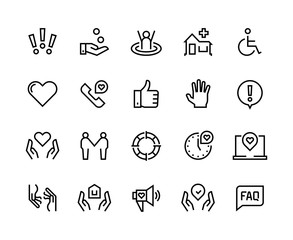 Help line icons. Support health care, manual faq guide, family life care community charity donate. Vector help and support set