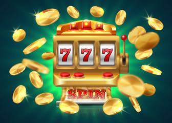 สล็อตแมชชีนคาสิโน  แจ็คพอต 777 ชนะพื้นหลังลอตเตอรี่เกมการบินเหรียญทอง  สล็อตแมชชีนสีทองเวกเตอร์