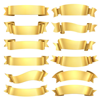 Golden ribbons. Congratulations banner element, yellow gift decorative shape, gold advertising scroll. Vector realistic golden ribbon