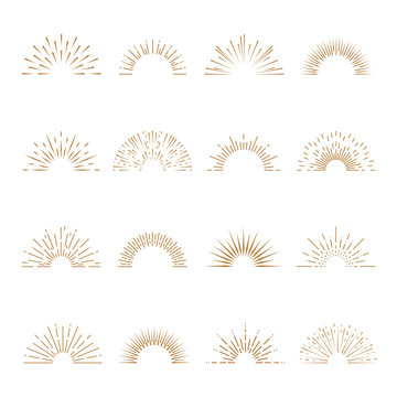 Retro sunburst. Sunrise firework sunset blast sunbeam abstract burst emblem sun ray shape explosion bursting vintage vector set