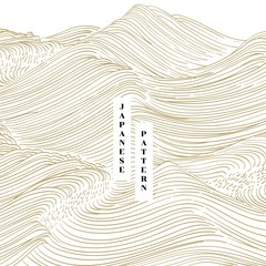 Japanese hand drawn wave background vector. Gold line ocean template pattern.