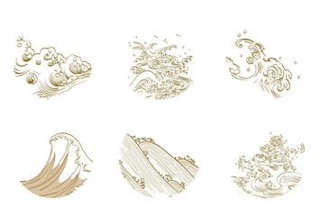 Asian wave icon vector set. Water symbol flat.