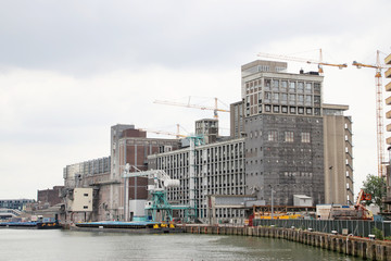Reconstruction of the old harbor buildings at the Rijnhaven in Rotterdam, the Netherlands
