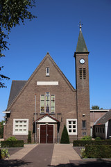 Reformed church on the strict religious village of Oldebroek on the Veluwe in the Netherlands.