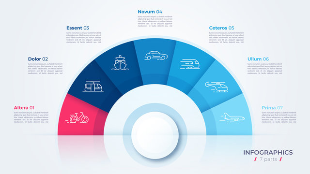 Vector circle chart design, modern template for creating infographics, presentations, reports, visualizations