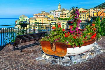 Spectacular promenade decorated with colorful flowers, Bogliasco, Liguria, Italy, Europe