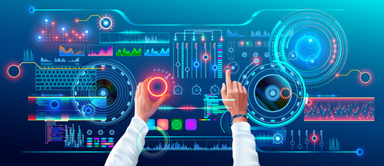 Scientist Work with Futuristic Holographic HUD Interface. User Hands Controls Abstract Tech Elements Virtual Digital Dashboard. Fantastic Science Infographic and Data on Tach Panel.