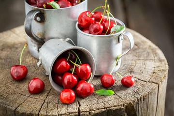 Juicy sweet cherries in the old metal mug