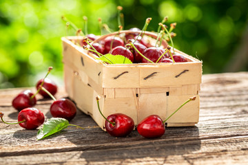 Tasty and sweet cherries in old wooden punnet