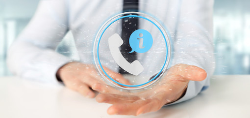 Businessman holding a customer and assistance hotline service button 3d rendering