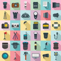 Photographer equipment icons set. Flat set of photographer equipment vector icons for web design