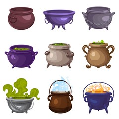 Cauldron icons set. Cartoon set of cauldron vector icons for web design