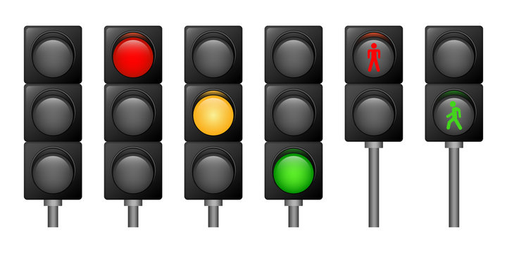 Traffic lights icons set. Realistic set of traffic lights vector icons for web design isolated on white background