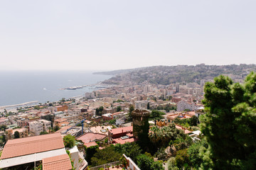 View on the city of Napels, Italy with the Mediterranean Sea in the background.