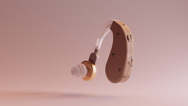 Behind the Ear Hearing Aid 3d illustration 3d render