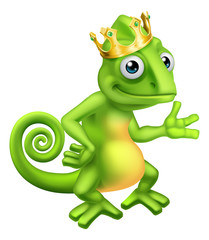 A chameleon king green lizard cartoon character wearing a crown illustration
