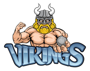 A Viking warrior gladiator golf sports mascot
