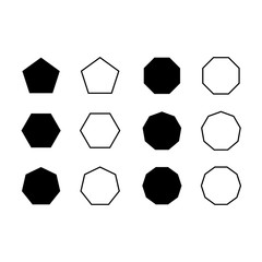 Vector set icon pentagon, hexagon, octagon, decagon, dodecagon etc symbol