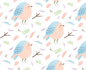 Pattern with cute birds and feathers. Background for natural, springtime seasonal design. Forest and nature theme