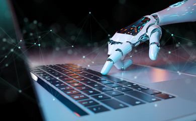 Robotic hand pressing a keyboard on a laptop 3D rendering Wall mural
