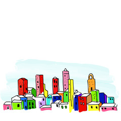 doodle city, doodle cityscape, hand drawn cityscape, cartoon vector illustration, bright vector sketch, isolated on white background