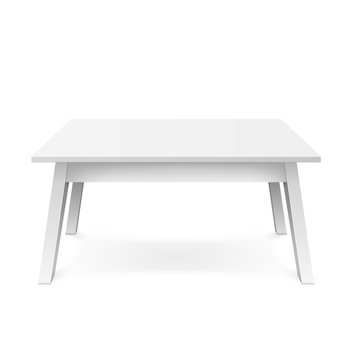 Realistic white table. White office table with shadow isolated on white background. Vector illustration
