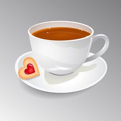 Vector illustration of a cup of tea with biscuit in the shape of a heart with jam.