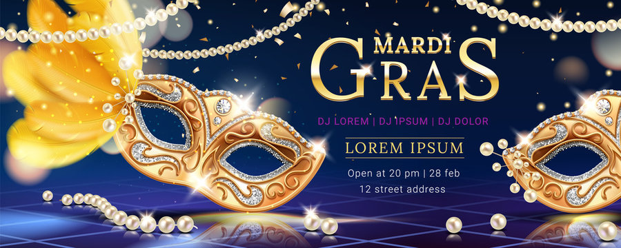 Masquerade mask with feather for mardi gras carnival banner. Venice event invite background with beads and confetti. Party flyer or venetian festive card design. Holiday and disguise, celebration